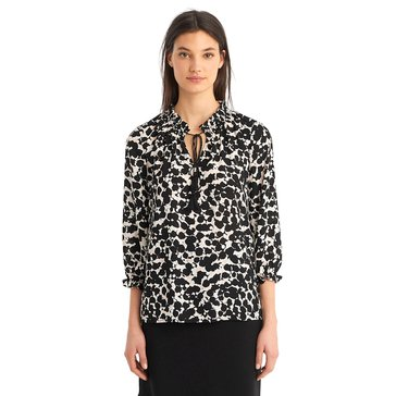 Karl Lagerfeld Women's Printed Ruched Neck Blouse Top With Pearls In Black Combo