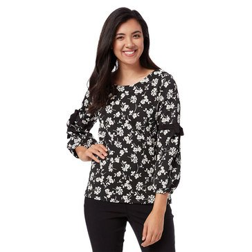 Karl Lagerfeld Women's Floral Jaquard Poet Sleeve Blouse In Black/White Combo