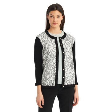 Karl Lagerfeld Women's Lace Cardigan Sweater With Bow In Black