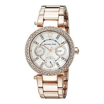 Michael Kors Women's Rose Gold Tone Glitz Parker Mini Watch, 25mm