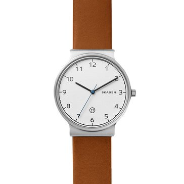 Skagen Men's Ancher White Dial With Leather Strap Watch, 40mm