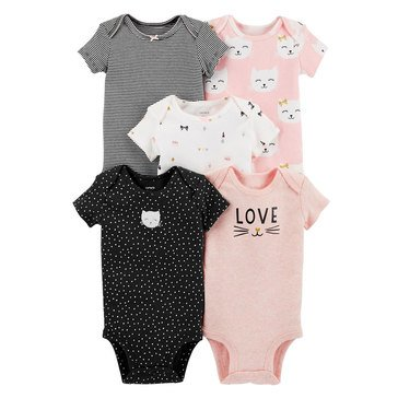 Carter's Baby Girls' 5-Pack Short Sleeve Bodysuit Set