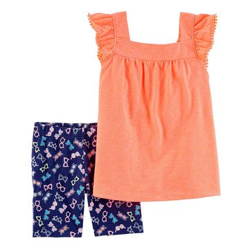 Carter's Little Girls' Knit Shorts Set, Orange