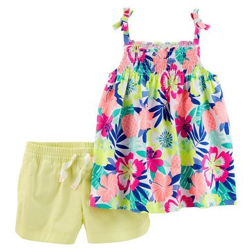 Carter's Little Girls' 2-Piece Knit/Twill Shorts Set