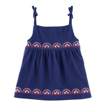 Carter's Little Girls' Knit Babydoll Top, Navy