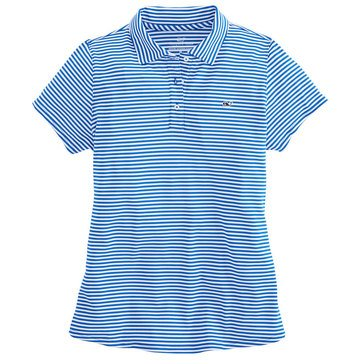 Vineyard Vines Women's Golf Short Sleeve Feeder Striped Polo With Logo In Yacht Blue/White