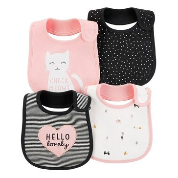 Carter's Baby Girls' 4-Pack Bibs Set