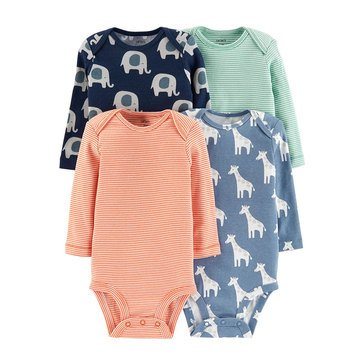 Carter's Baby Boys' 4-Pack Long-Sleeve Bodysuit Set