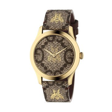 Gucci Women's G-timeless Supreme Gold Tone/Grey Genuine Leather Strap Watch, 38mm