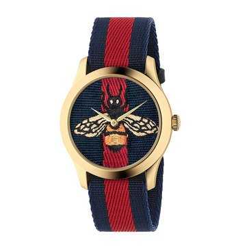 Gucci Women's Bee Print Red/Blue Canvas Strap Watch, 38mm