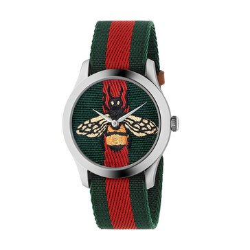 Gucci Women's Bee Print Red/Green Canvas Strap Watch, 38mm