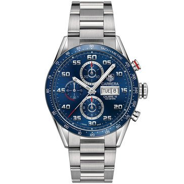 Tag Heuer Men's Carrera Blue Ceramic Polished Tachymeter Fixed Bezel Stainless Steel Bracelet Watch
