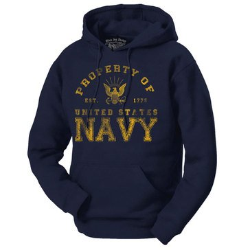 Black Ink Men's Property Of U.S. Navy Fleece Hoodie Navy