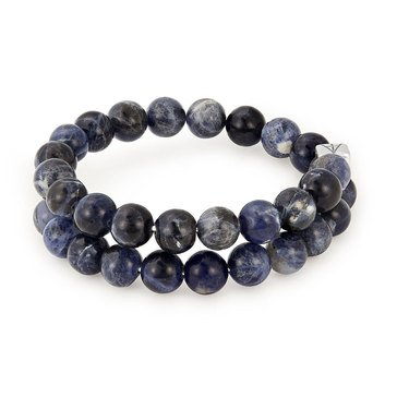 Alex And Ani Men's Beaded Sodalite Gems Wrap, Silver Finish
