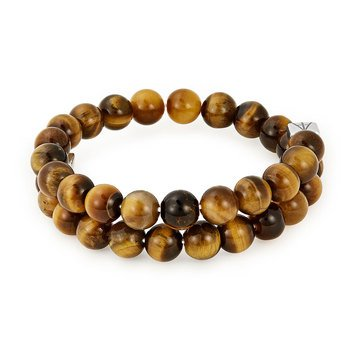 Alex And Ani Men's Beaded Tiger's Eye Gems Wrap, Silver Finish