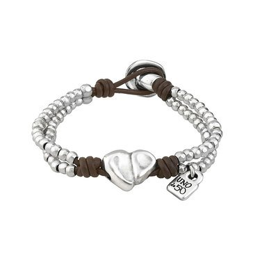 Unode50 Sterling Silver First Date Hearts Bracelet