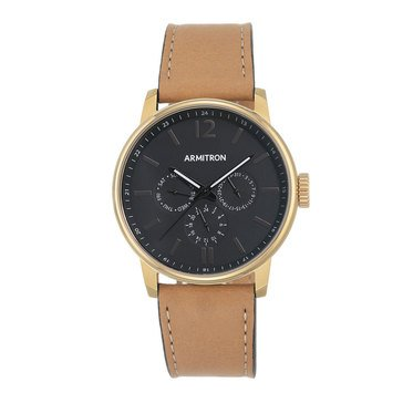 Armitron Men's Tan Leather with Three Subdials Watch, 42mm
