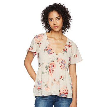 Lucky Brand Women's Floral Flutter Top In Pink