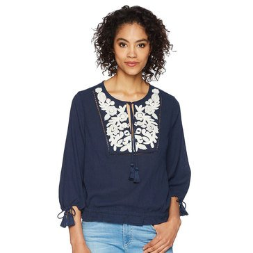 Lucky Brand Women's Embroidered Tassle Top In American Navy