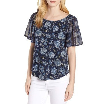 Lucky Brand Women's Printed Tie Back Top In Navy Multi
