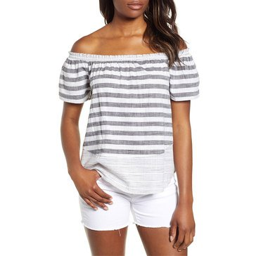 Lucky Brand Women's Off The Shoulder Striped Top