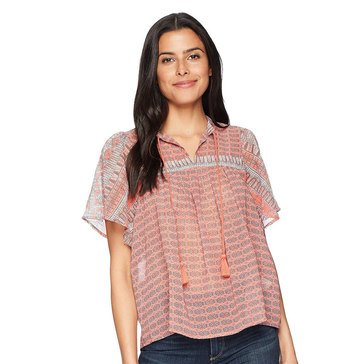 Lucky Brand Women's Short Sleeve Peasant Top In Pink Multi