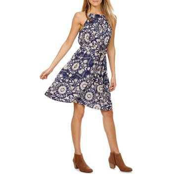 Lucky Brand Women's Knit Self Tie Dress In Blue Combo