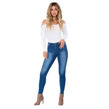 YMI Women's Mid Rise Skinny Junior Fit Jeans in Medium Wash