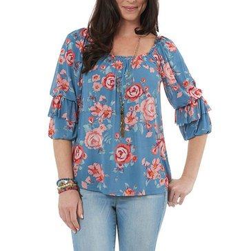Democracy Women's Printed Mesh Peasant Top In Slate Combo