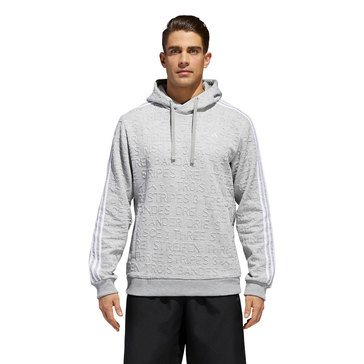 Adidas Men's Men's Essential Pullover Printed Fleece in Medium Grey Heather