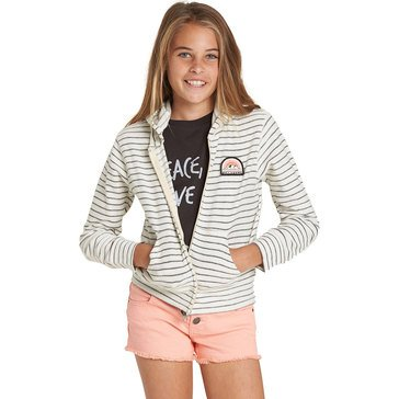 Billabong Big Girls' Always It French Terry Zip-Up, Cream
