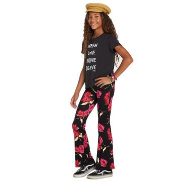 Billabong Big Girls' Tell Me Printed Knit Pant, Black