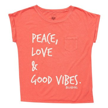 Billabong Big Girls' Peace and Love Crop Tee, Geranium