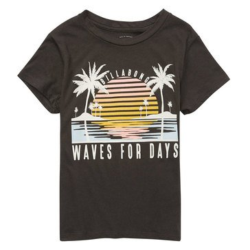 Billabong Big Girls' Waves and Suns Tee, Off Black
