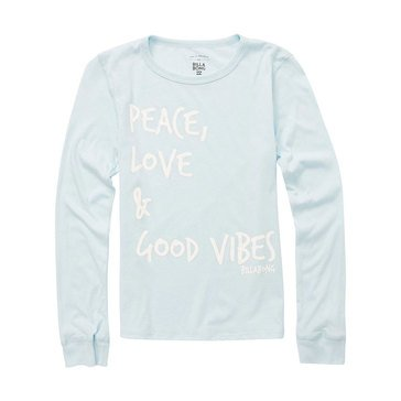 Billabong Big Girls' Peace and Love Tee, Rain Drop