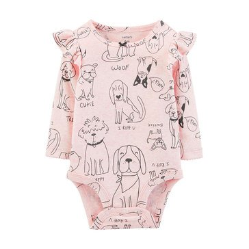 Carter's Baby Girls' Sketch Dog Bodysuit