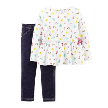 Carter's Baby Girls' Pink and Chambray Pant Set