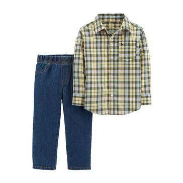 Carter's Baby Boys' 2-Piece Yellow Plaid Woven Pant Set