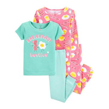 Carter's Baby Girls' 4-Piece Cotton Pajamas Set, Bacon Eggs