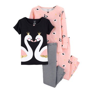 Carter's Baby Girls' 4-Piece Cotton Pajamas Set, Black Swan