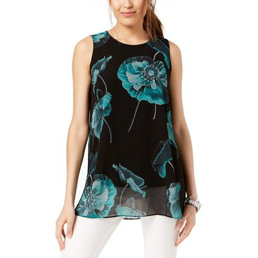 Alfani Women's Sleeveless Woven Overlay Tank in Poppy