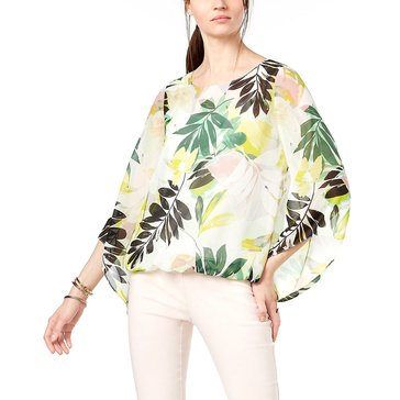 Alfani Women's Woven Floral Stencil Angel Sleeve Top in Garden Green