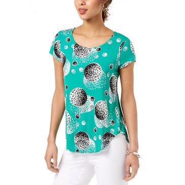 Alfani Women's Knit Short Sleeve Mod Dots Shirttail Tee