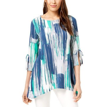 Alfani Women's Knit Tie Sleeve Printed Swing Top