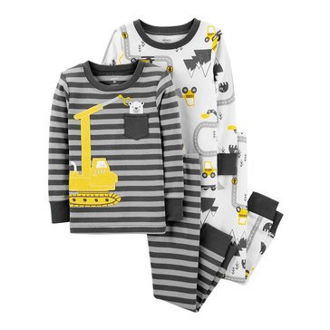 Carter's Baby Boys' 4-Piece Cotton Pajamas Set, Construction