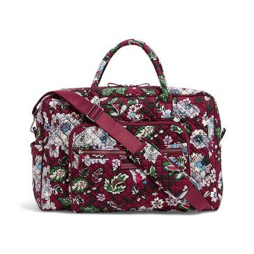 Vera Bradley Iconic Weekender Travel Bag Bordeaux Blooms