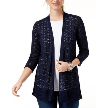 Charter Club Women's 3/4 Sleeve Cardigan in Intrepid Blue