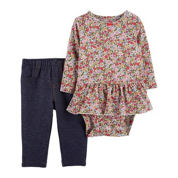 Carter's Baby Girls' Floral Peplum Bodysuit & Denim Pant Set