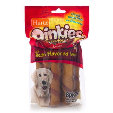 Hartz Oinkies Smoked 8-Count Pig Skin Treats Wrapped with Bacon for Dogs