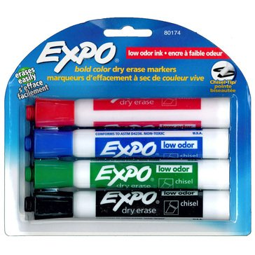 Expo Low Odor 4-Count Chisel Business Dry Erase